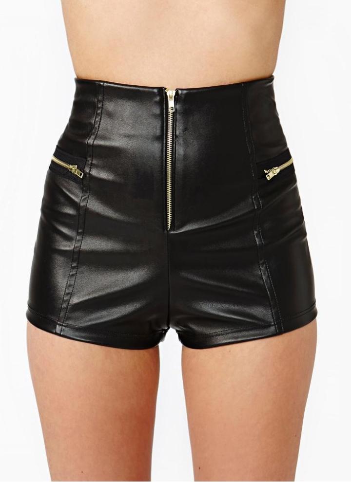 Women Hotpants Faux PU Leather Lace Up High Waist Shorts Bandage Mini Buttoms