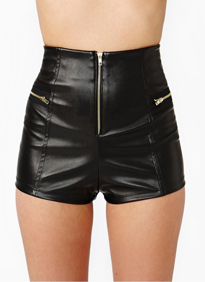 8a0bd8873074 Nuova moda donna Shorts ecopelle PU cuoio cerniera vita alta Skinny Fit Casual  Sexy pantaloni corti