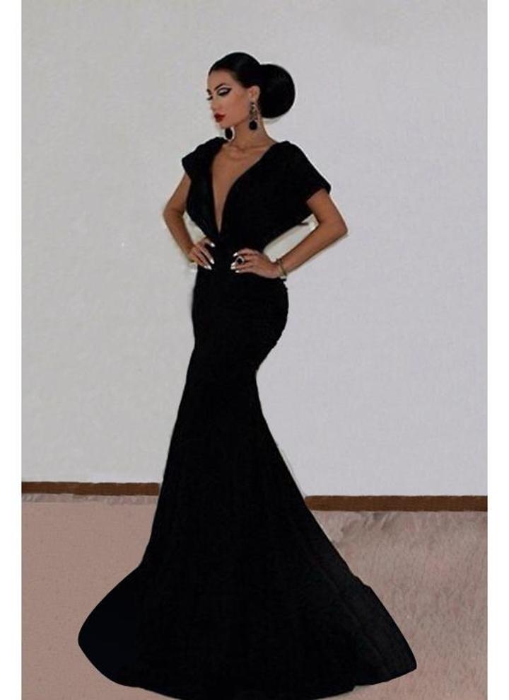 Nuova moda donna abito V profondo collo Backless Bat manica pavimento nero  lunghezza abito da sera 8f127bea240