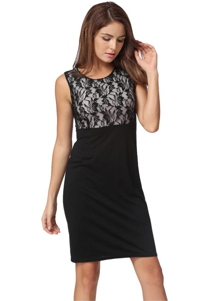 Nuova moda donna abito floreale in pizzo Patchwork colore blocco matita  elegante senza maniche Dress Black 4646963cd6a