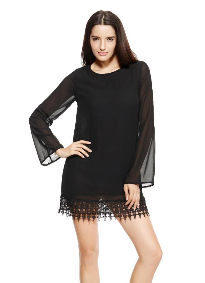 Moda donna Shift in Chiffon vestito all uncinetto pizzo orlo manica lunga  Mini abito Black e2921675ba9