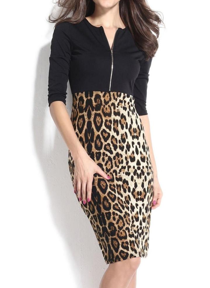 df9e1a537c51 Neue Mode Frauen kleiden Frontreißverschluss Patchwork Leopard Print O-Neck  halbe Ärmel Sexy Pencil Kleid