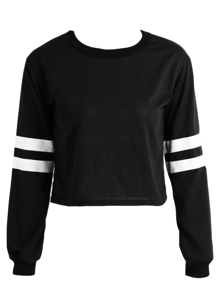 d4b36186cc15 Nueva moda mujer cultivos PU superior de cuero de manga larga cuello  redondo Casual suéter flojo sudadera negro/blanco