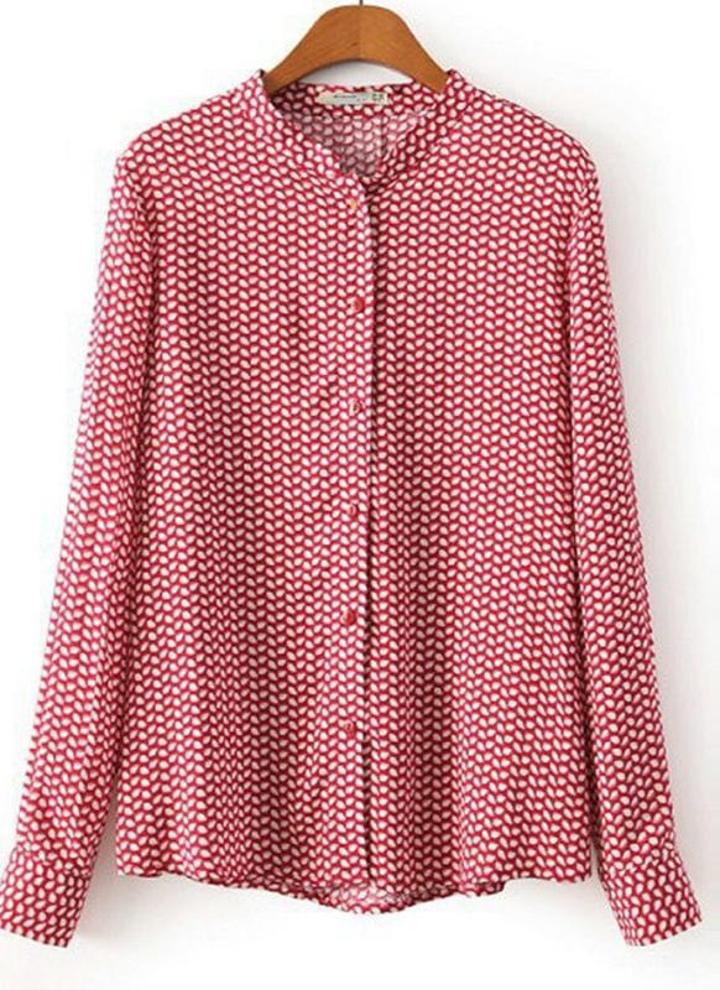 45e7e13801 Moda Vintage mulheres camisa folhas fechamento botão de impressão Stand  colarinho manga longa blusa Top vermelho