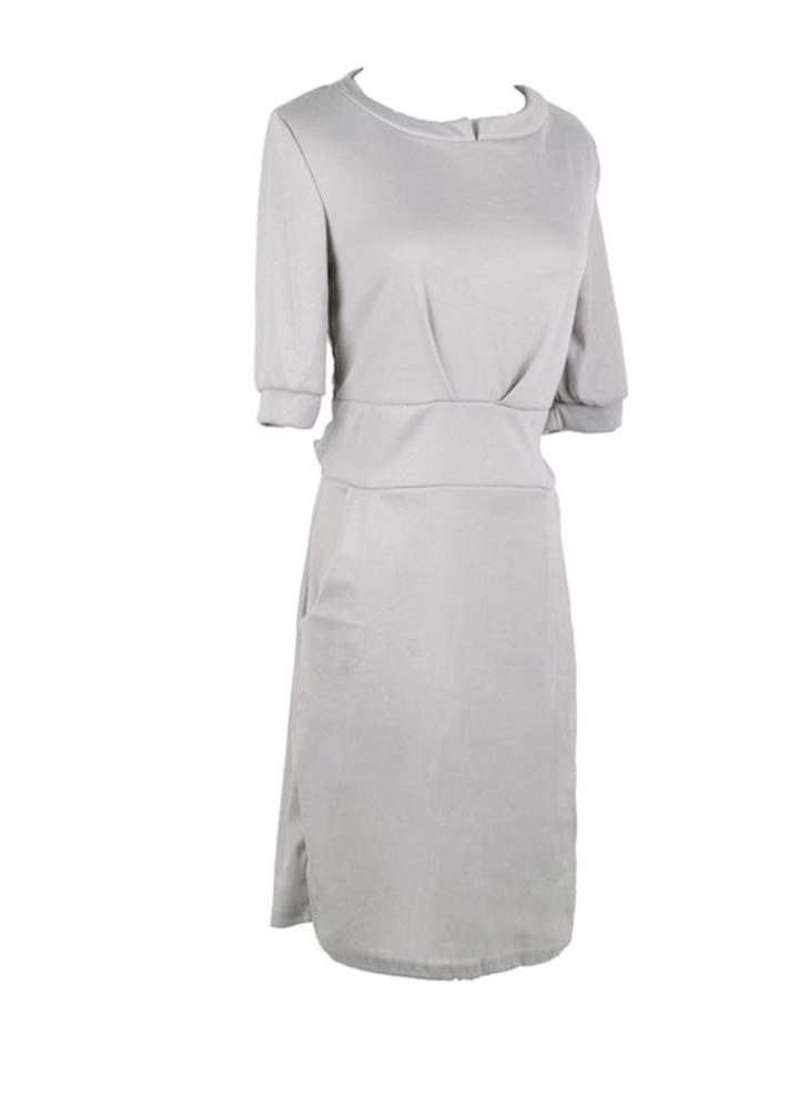 70262ebe859 Nueva moda mujeres vestido Pocket correa mangas medio sólido Casual una  pieza gris azul