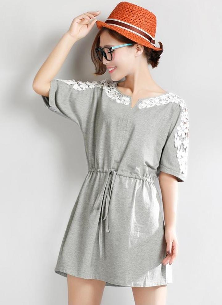 83228edc424 Nueva mujer Sexy vestido encaje Floral de manga corta lazo cintura Casual  Mini vestido gris