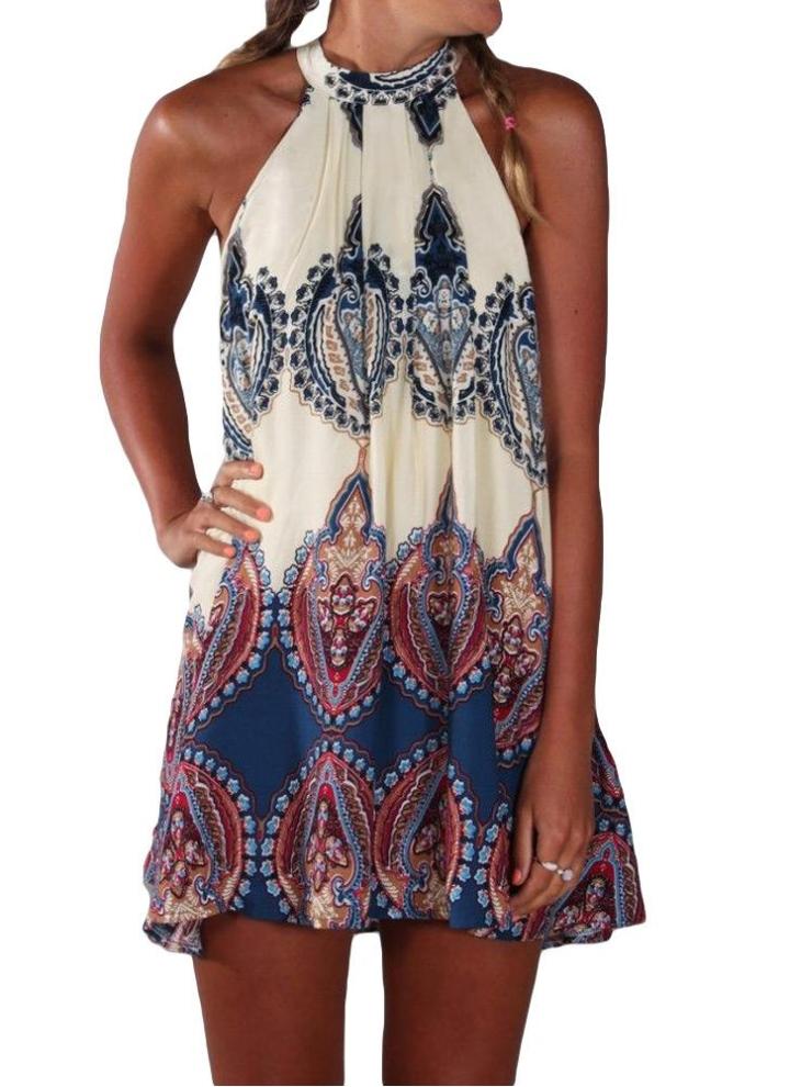 6546c174db0 Moda mujer vestido de verano estampado Halter estilo vestido Mini sin  mangas Beige