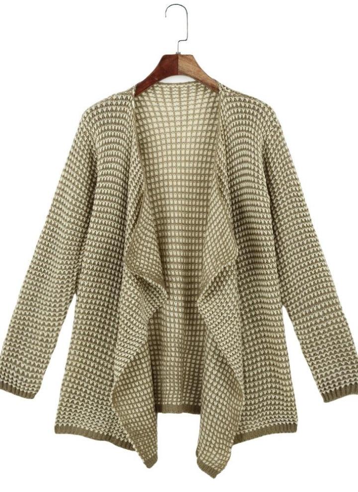 Nueva moda mujer de punto Cardigan cascada dobladillo asimétrico delantero  abierto manga larga Casual chaqueta suéter 9243d15ac71b