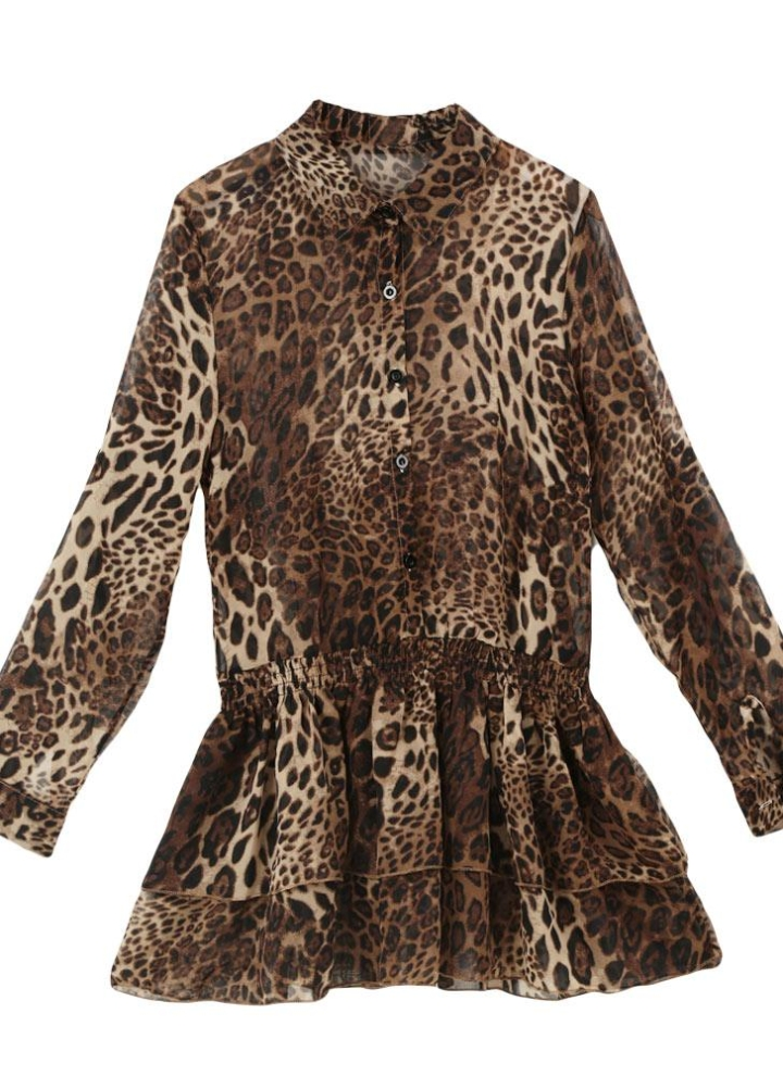 644c644c93b4 Mode Frauen Chiffon Minikleid Leopard Turn-Down-Kragen langarm elastische  Taille geschichtet Kleid Brown
