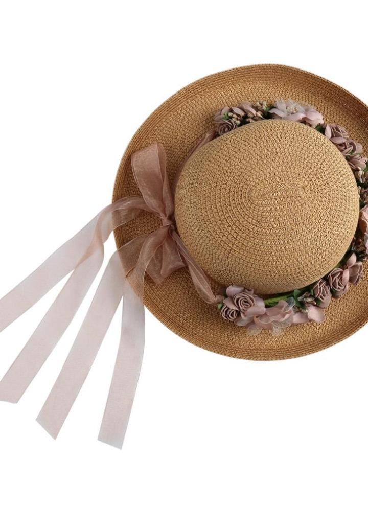 Mulheres de chapéu de palha sólido cor Garland removível dobrável verão sol  praia férias Cap bege 45ab140ef2f