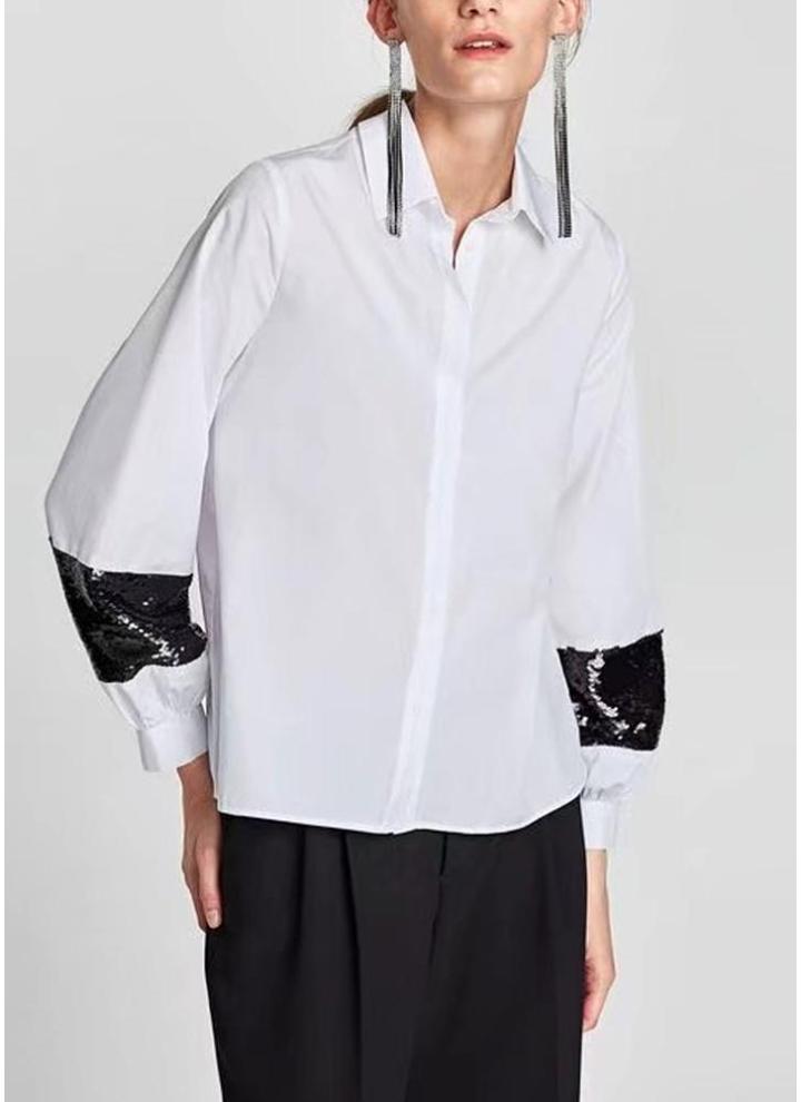 af64da4e60 Camicetta allentata casuale delle donne della camicia di paillettes di  Turn-Down del collare