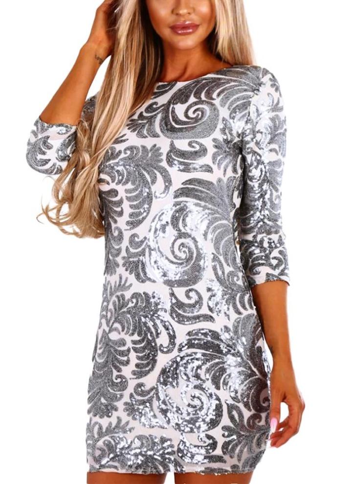 huge discount 7ee15 f012a Vestito elegante aderente da sera con mini abito da sera da donna con  maniche lunghe a metà manica