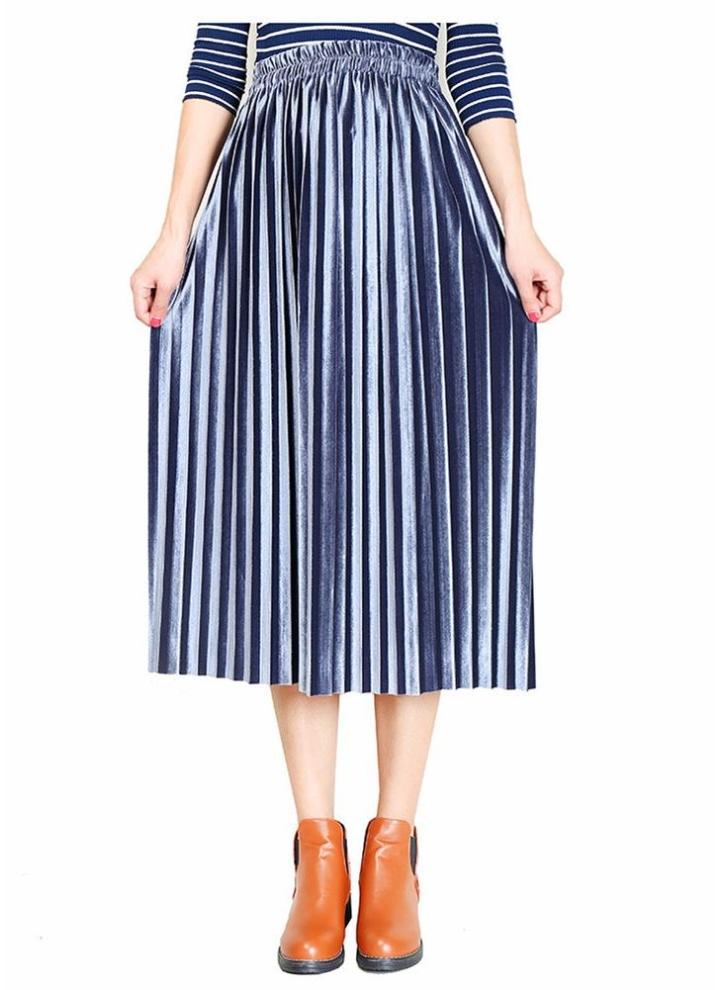 1dc8f238fc l azul Falda midi plisada de terciopelo elástico de cintura alta ...