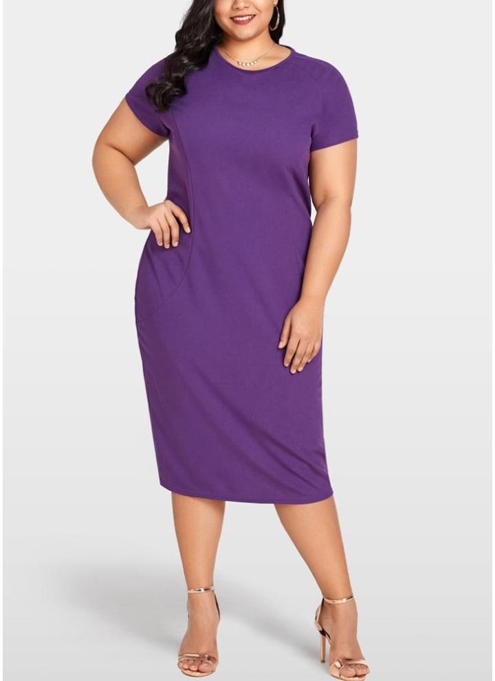 lila 2xl Frauen Plus Size Bodycon Kleid Zurück Reißverschluss ...