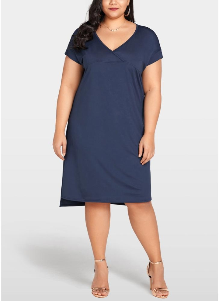 Damen T-Shirt Sommerkleid Abendkleid Asymmetrisch Stickerei Shirtkleid Plus Size