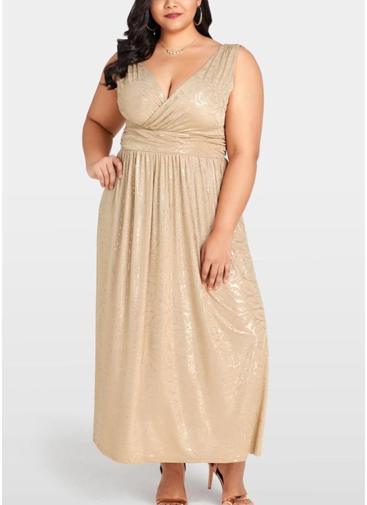 Abito lungo da donna Maxi vestito floreale oro con maniche lunghe da donna af6dcb1bb93
