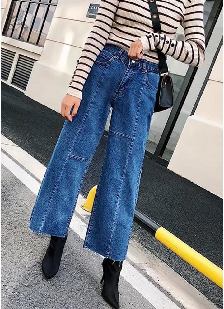Larges Ourlet Taille Unie Couleur Jeans Avec Brut Jambes Haute À SUVpMGLqz