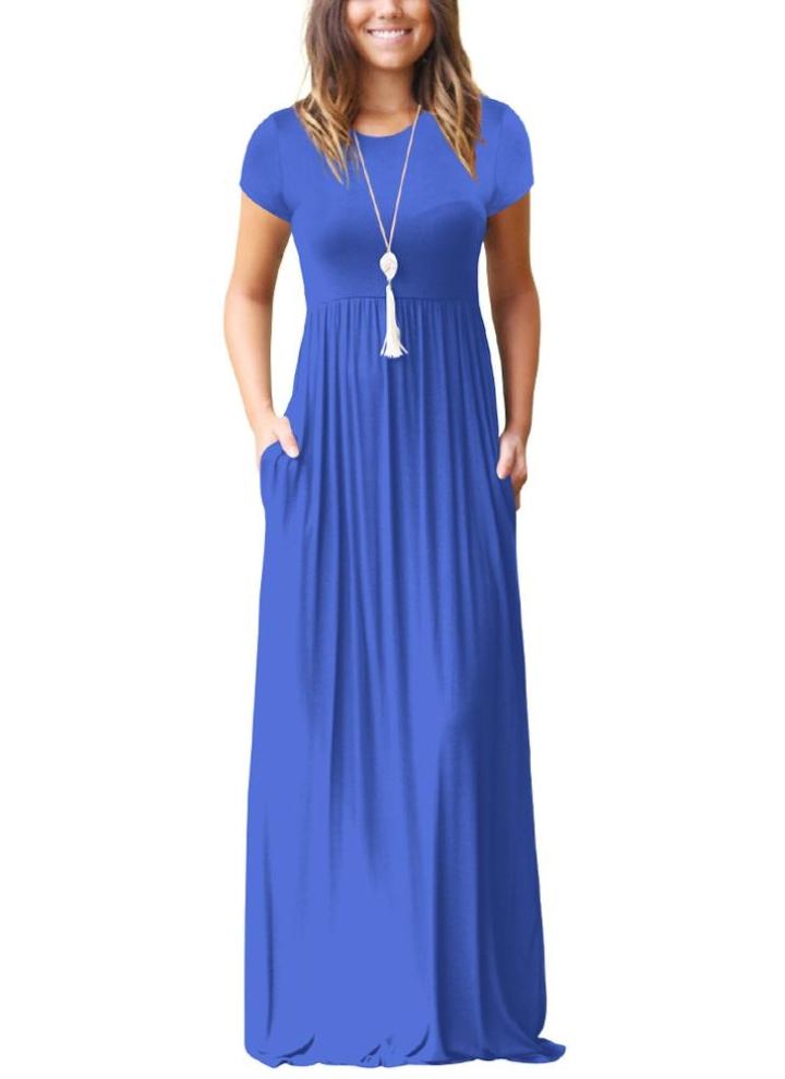 Frauen Maxi Langes Kleid mit kurzen Ärmeln O-Neck Taschen Party Abend  A-Linie b8ee012086
