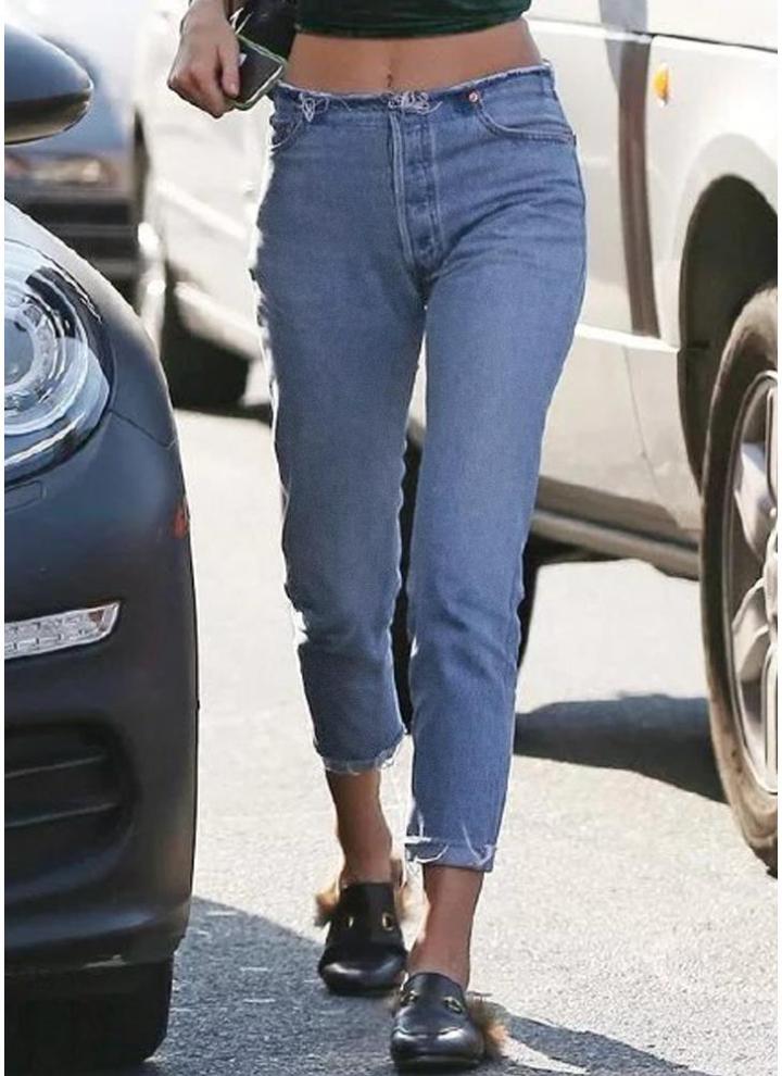 blau m Frauen Jeans abgeschnitten ausgefransten Saum gerade
