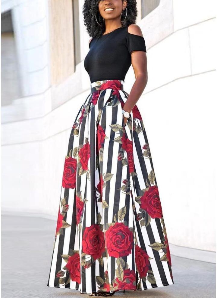 8b090a521 Conjunto de falda larga para mujer con estampado floral a rayas y  acampanado Vestido acampanado de dos piezas