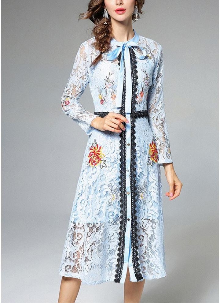 Women Elegant Lace Dress Tie Neck Long Sleeve Vintage Party Dress