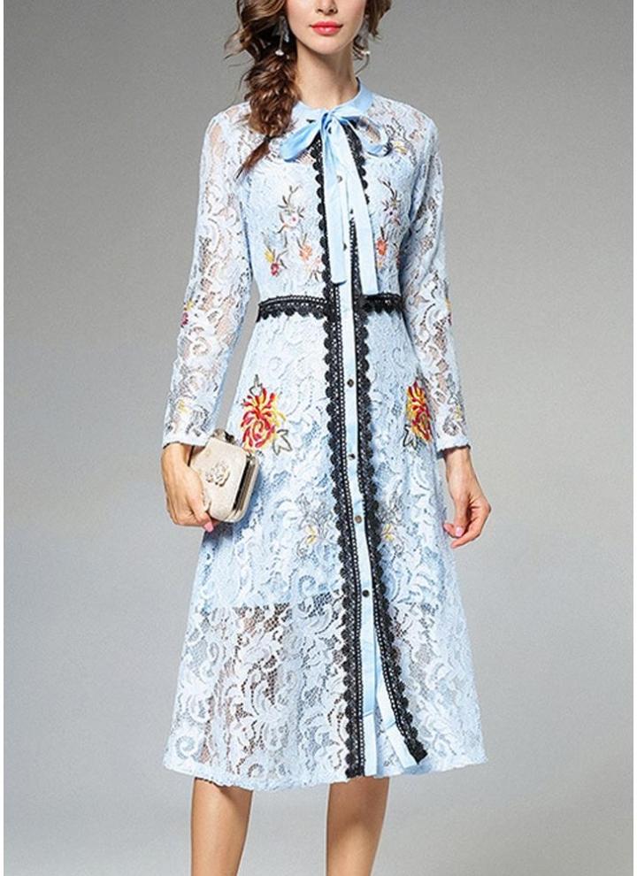 hellblau l Frauen-elegantes Spitzenkleid-Bindungs-Hals-langes Hülsen ...