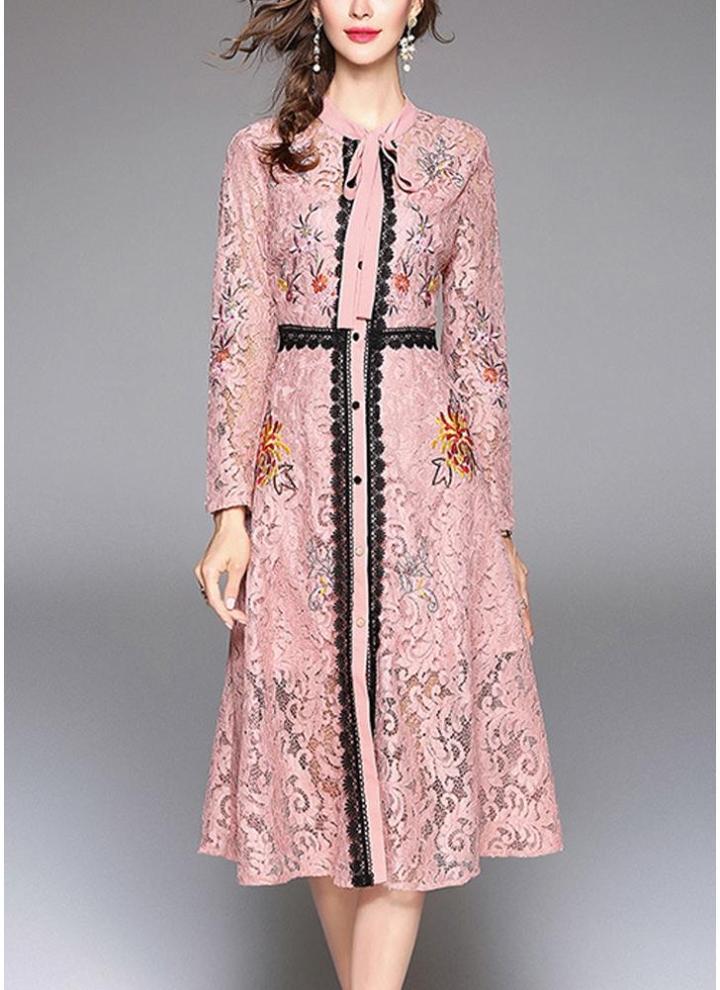 2xl rosado Vestido de fiesta elegante de encaje de manga larga con ...