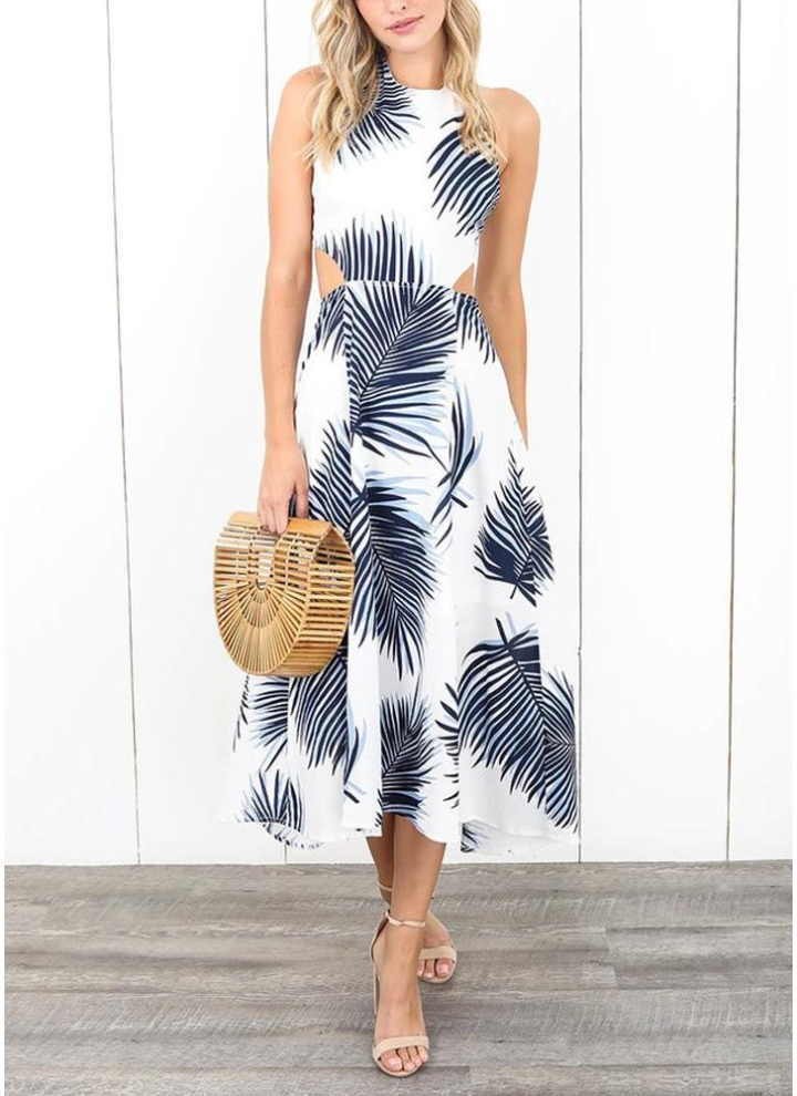 2b583f62994 Frauen Kleid Kontrast Blätter Print Open Back Maxi Kleid Casual Urlaub  tragen