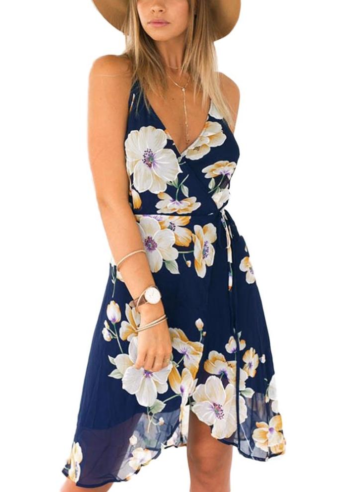 dunkelblau 2xl Frauen-Blumendruck-Sleeveless Chiffon- Kleid Backless ...