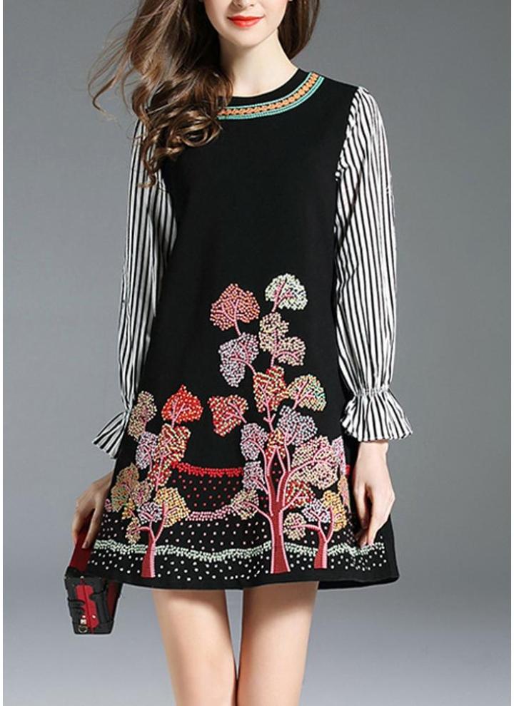 Damen V-Neck Blumen Minikleider Clubwear Langsleeve Taille Hemdkleid Sommerkleid