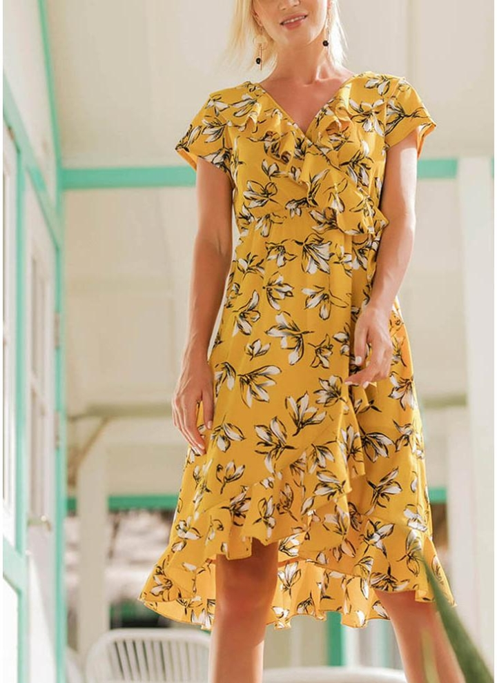 c1147bc8615a Boho Vintage Floral Ruffles V Neck Dress Short Sleeves Asymmetric Beach  Dress