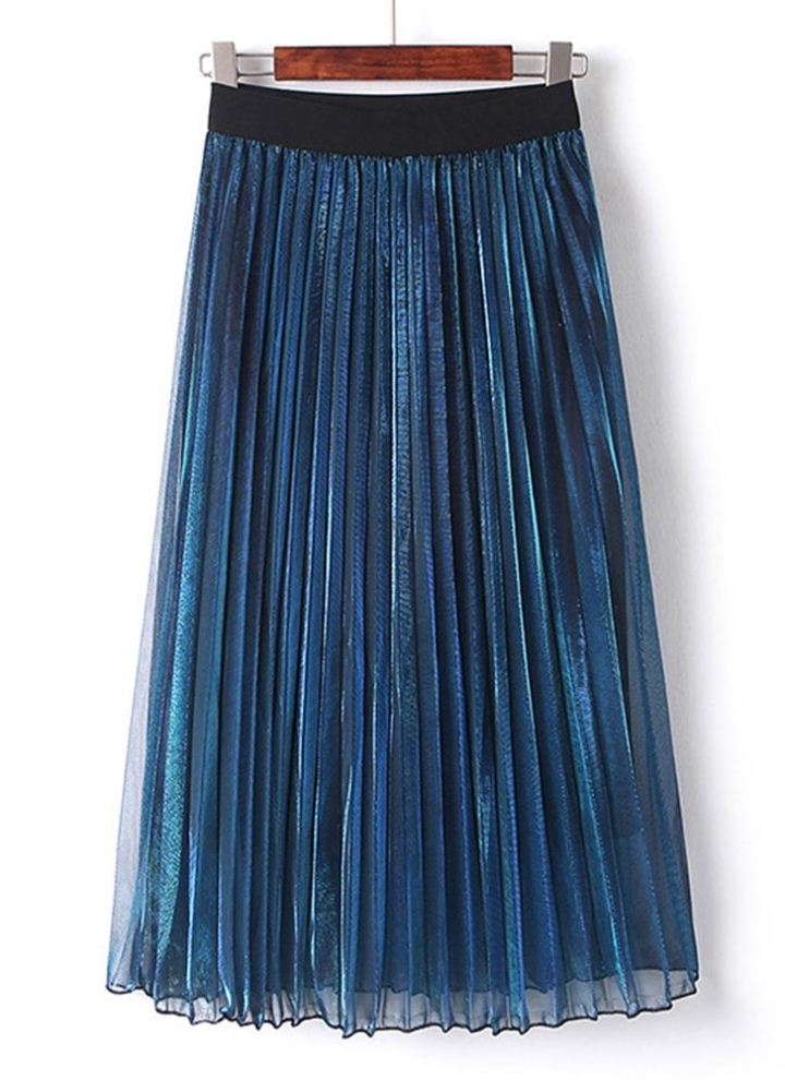 ed0c63fc7 Falda plisada elástica de cintura alta de plata metalizada