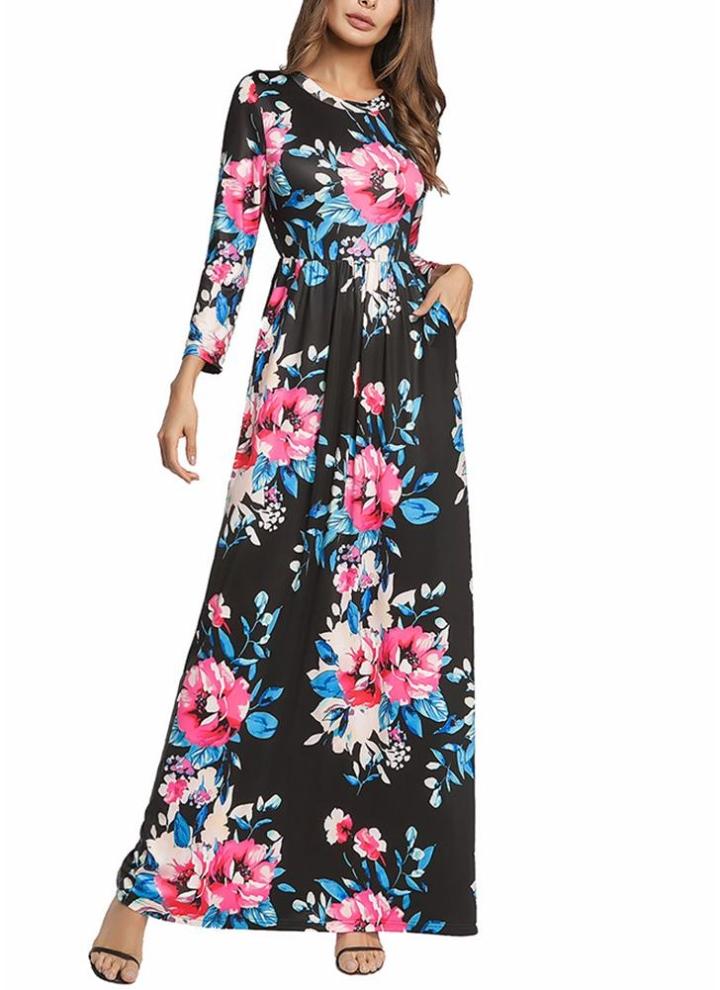 schwarz 2xl Floral Long Sleeve Prom Sommerkleid elastische Taille ...