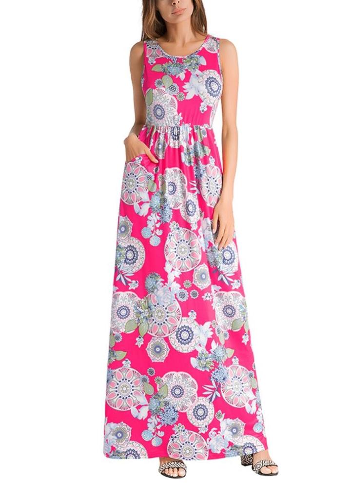 l rosa Vestido maxi sin mangas de la cintura elástica sin mangas de ...