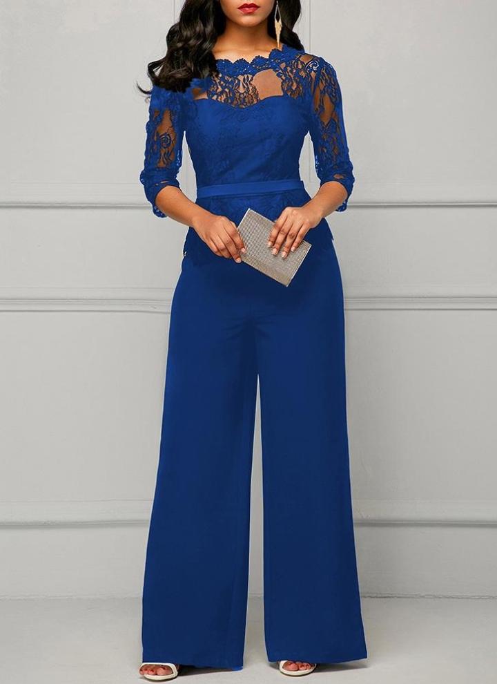 ebdbcd1ac1b3 xl azul Lace Splice 3 4 Sleeves Wide Leg Playsuit - Chicuu