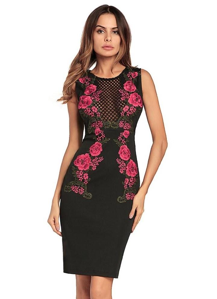 c2f521840b91d Vestito aderente da donna Vestito ricamato floreale Scollo a maniche lunghe  con scollo a V senza