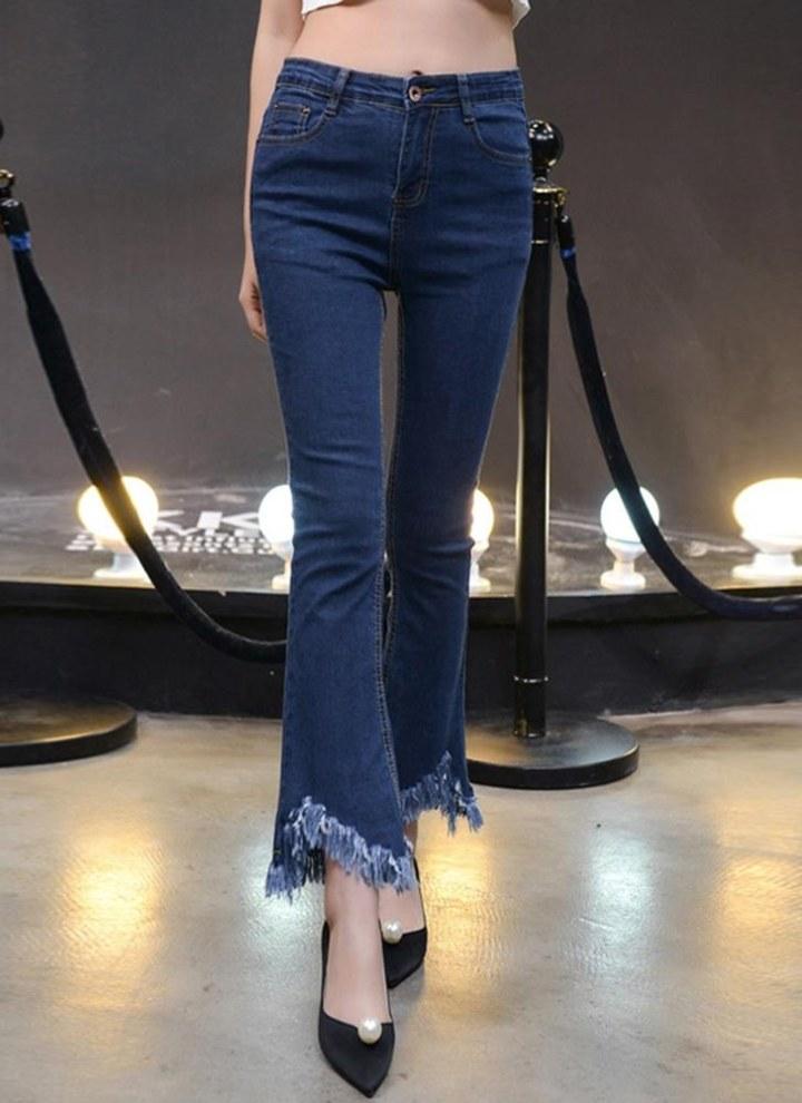 Donna Stretch anca Skinny Jeans A Sigaretta Slim Fit stracciato con fori Jeans Pantaloni