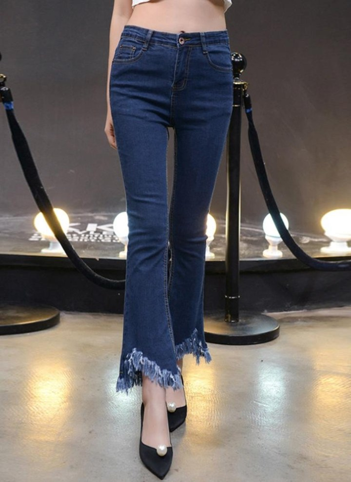 a787fd9825a56 Femmes Skinny Denim Jeans glands frangés taille haute pantalon évasé crayon  pantalons