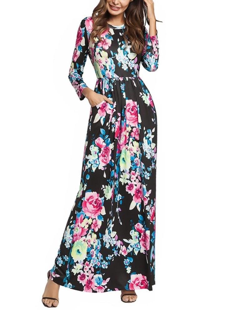 Vestito estivo lungo da donna Vestito lungo da stampa floreale Vestito  estivo da spiaggia di Boho 3a60b72f5bc