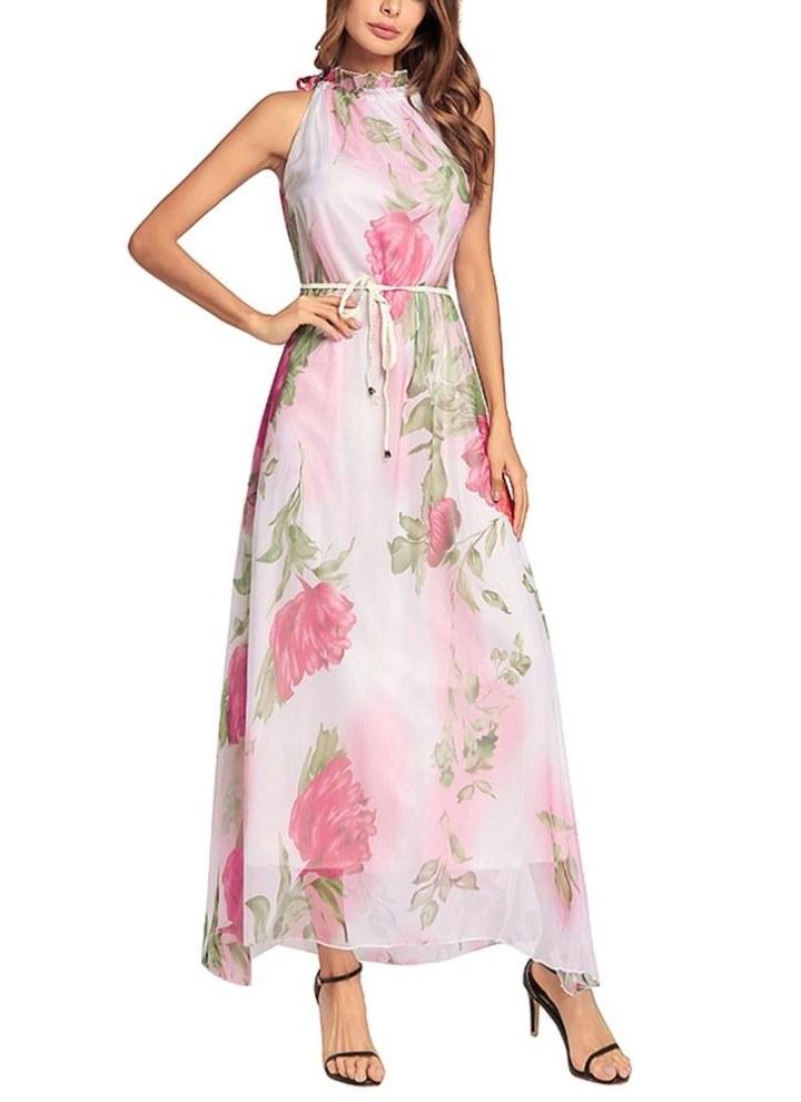 Vestito lungo da donna in chiffon con stampa floreale senza maniche con  cintura abito estivo da 9ff9d81f777