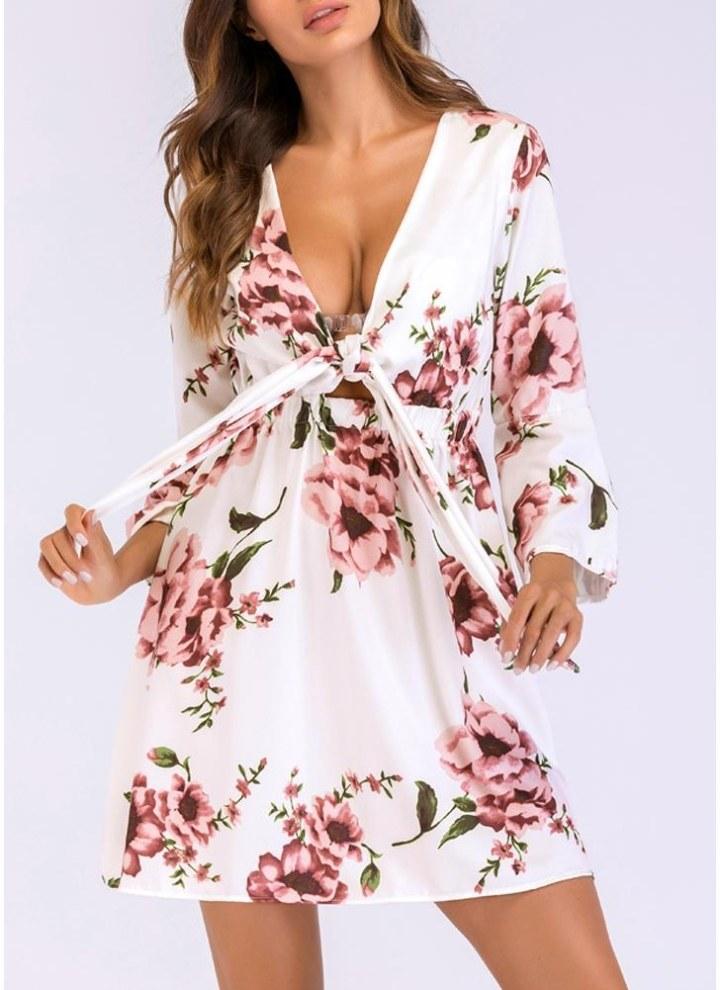 Abiti da donna con stampa floreale con maniche a campana e maniche a vita  alta 765722aff0c
