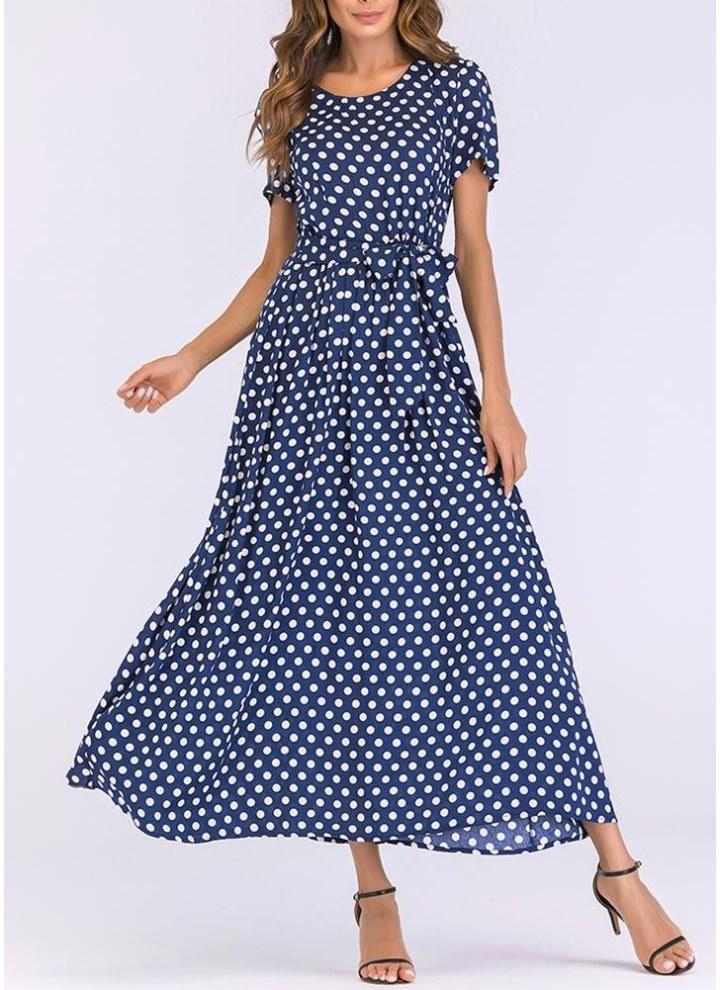deef51cadcaff0 blau 2xl Frauen lange Polka Dot Kleid A-Linie Vintage Maxi-Kleid ...
