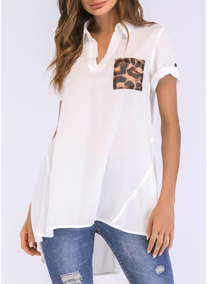 Camicia lunga da donna Camicetta Leopard Tasca a maniche corte Camicia a  tunica orlata asimmetrica Top 79c03858c0b