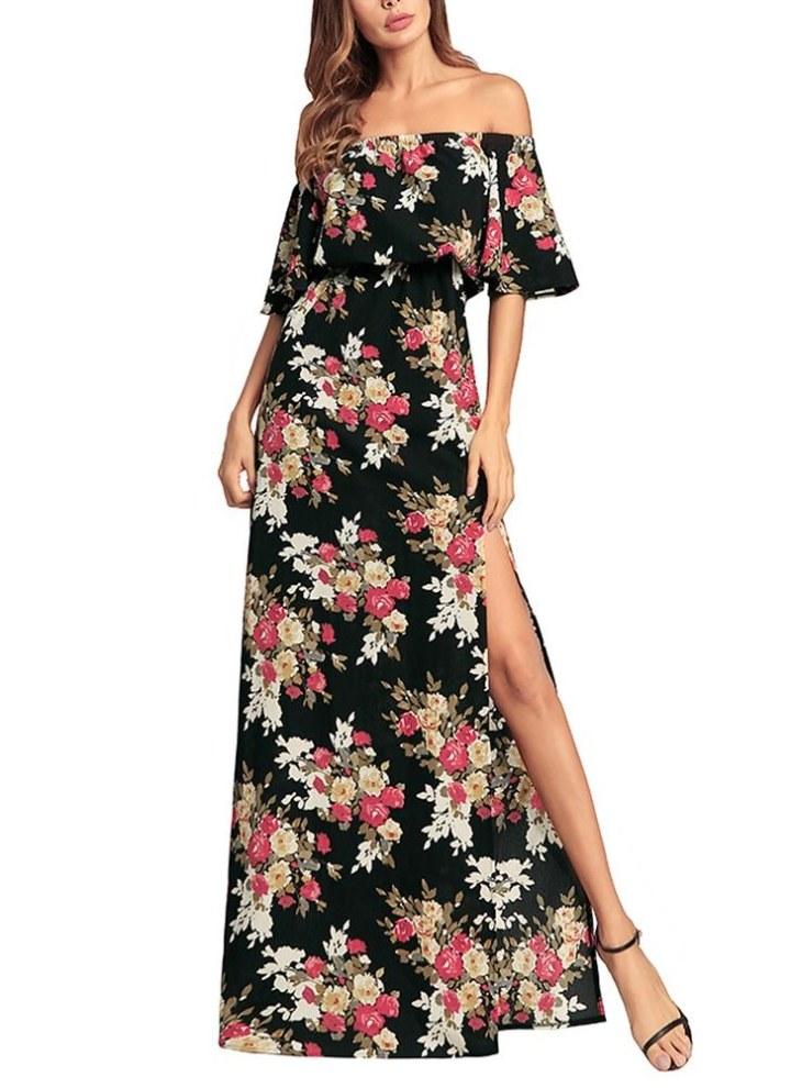 designer fashion dfcc9 bb871 Abito lungo da donna in chiffon con stampa floreale, vestito estivo lungo  con scollo a spacco