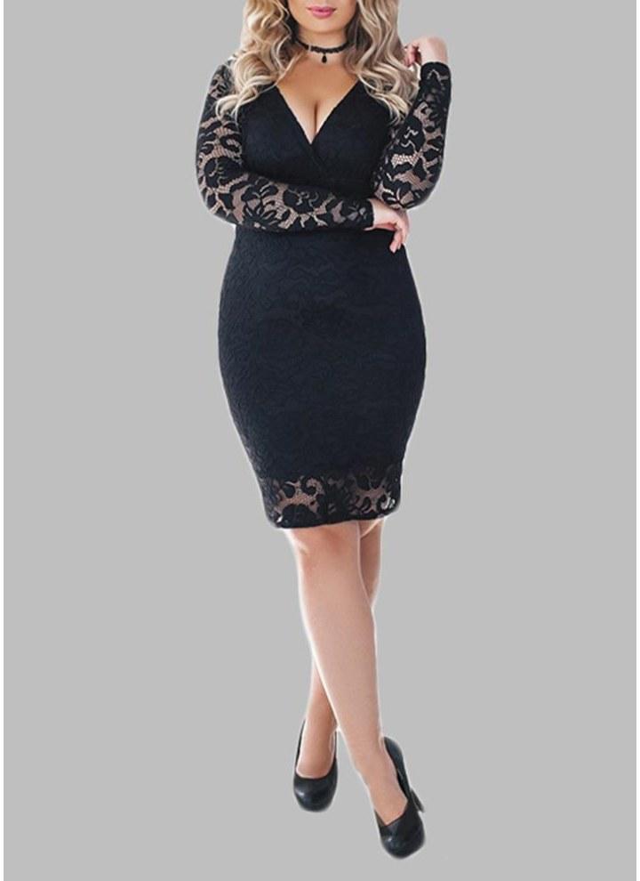Black 2xl Plus Size Lace Deep V Neck Long Sleeve Bandage Bodycon