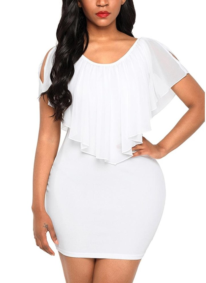 ff2d8511383526 Frauen Minikleid gekräuseltes dünnes Bodycon elegantes Kleid