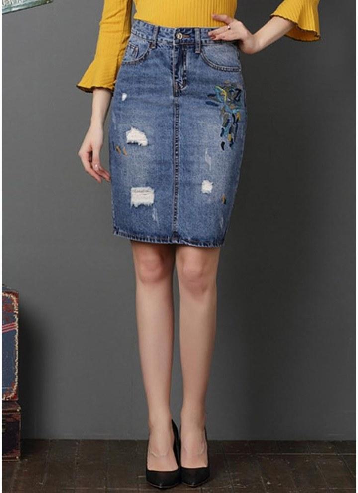 2dd6c3048 Las mujeres rasgaron la falda del dril de algodón del bordado Mini falda  dividida lavanda falda del lápiz