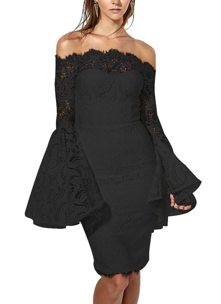 1960d54a6bbb Spitze weg von der Schulter Flare langes Kleid Sommer Ärmel Bodycon  Minikleid