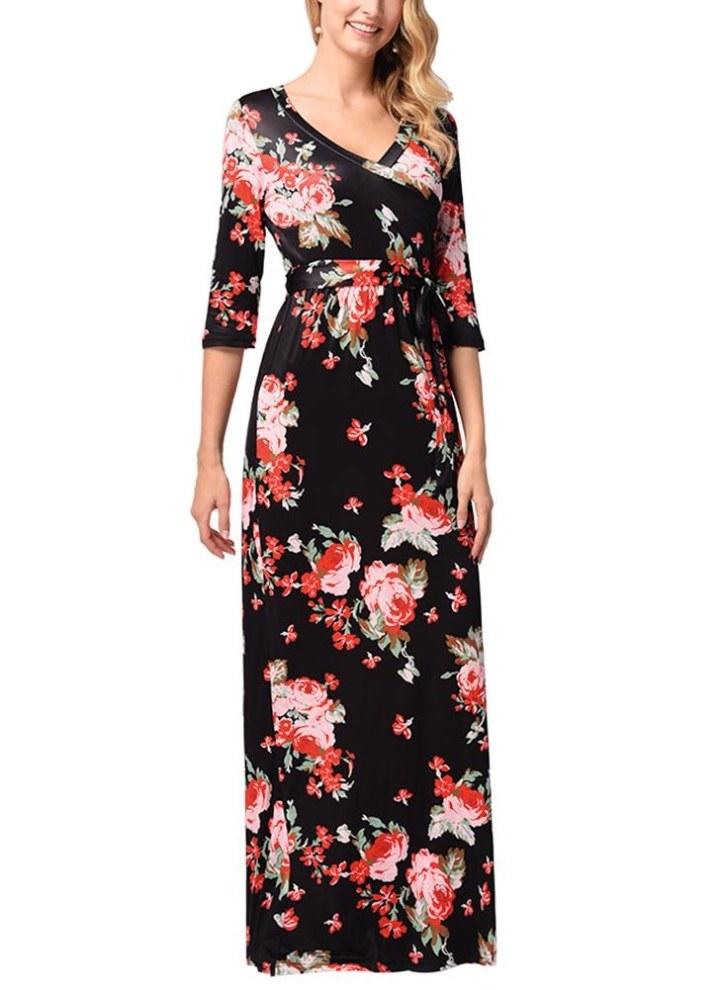 Vestito lungo da donna con maniche lunghe a mezza manica floreale vintage da  donna 06a633db62b