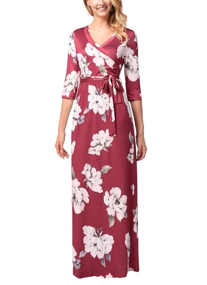 Vestito lungo da donna con maniche lunghe in boho floreale con maniche  lunghe a metà maniche df16ddba615